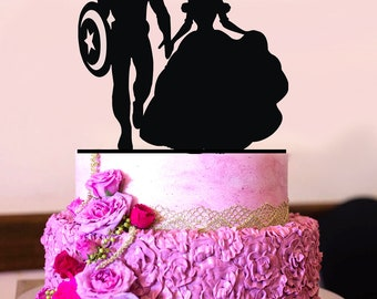 Captain America and Belle Silhouette, Wedding Cake Topper, Customized Silhouette, Superhero Wedding A2166