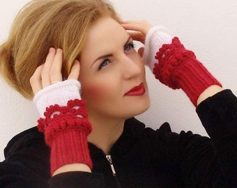 Fingerless gloves, mittens Crochet, knit, Arm Wrist Warmers, Red  White. Knit gloves. Knit mittens.
