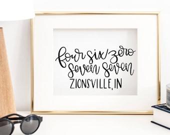 Zionsville, IN - Hand Lettered Zip Code