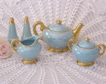 Vintage Turquoise Acme Craftware Tea Set USA, Turquoise Iridescent Full Size Teapot Cream Sugar Salt Pepper, Turquoise & Gold Tea Set (ØK)
