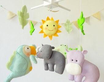 Hippo Baby Crib Mobile / Jungle Nursery Mobile / ELephant Baby Crib Mobile / Woodland Crib Mobile / Lion Baby Mobile