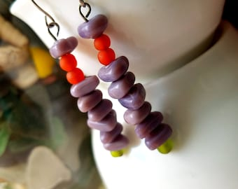 unique gifts, christmas gifts for her, gifts under 20, ethnic earrings, purple earrings, avant garde, colorful earrings, dangle earrings