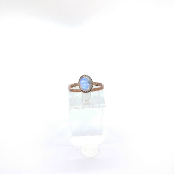 Simple Moonstone Ring | Rainbow Moonstone Ring | Copper Ring Sz 6.75 | Simple White Ring | June Birthstone Ring | Blue Moonstone