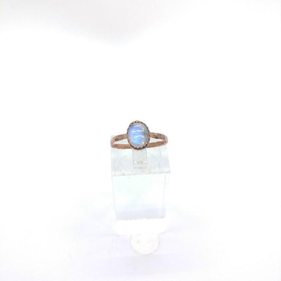 Simple Moonstone Ring   Rainbow Moonstone Ring   Copper Ring Sz 6.75   Simple White Ring   June Birthstone Ring   Blue Moonstone
