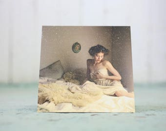 Women in bed blank greeting card photography 5X5in Valentine with Sparkles