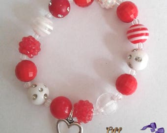Red and White Valentines Inspired Not So Chunky Bracelet