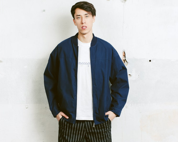 Navy Blue Bomber Jacket . Vintage Men's Dark Blue Men's Jacket Zip Up Jacket Outerwear Boyfriend Gift Hipster Outfit. size Large L