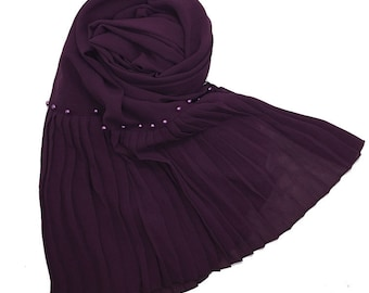 Premium Chiffon scarf with One Sided Pleated border and Pearls - Purple
