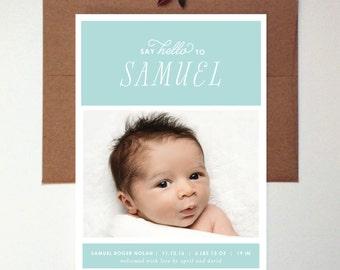 SAY HELLO Birth Announcement // Boy Birth Announcement // Photo Birth Announcement // Aqua // Blue // Green // Grey // Modern // Floral