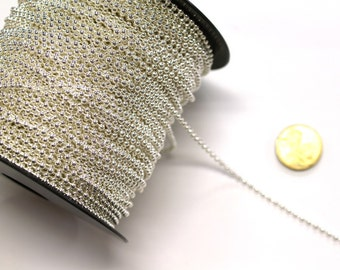 1 x Metre of 2.5mm TARNISH RESISTANT Silver Plated Ball Chain - #SPH129