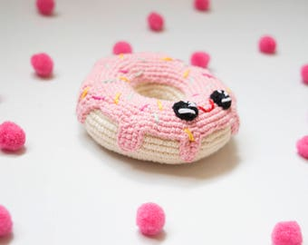 Crochet Pink Donut Baby toy, Amigirumi Winking Donut,  Play Food,Lifesize  Plush  sweets, Baby shower gift, Photography Photo Prop