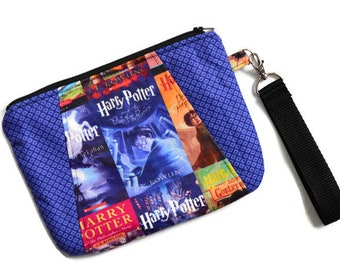 Potter Book Covers Sunshine Wristlet - Magical Wizard Wristlet - Blue Wristlet - Teen Gift - Travel Bag - Stocking Stuffer