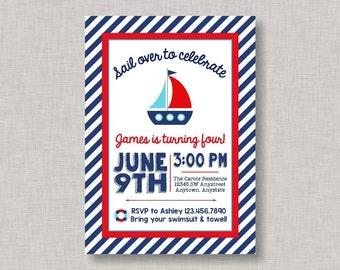 Nautical Birthday Invitation, Nautical Birthday Party, Nautical Invitation