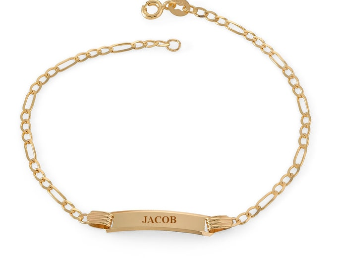 """Baby 9ct Yellow Gold 6"""" Figaro Chain ID Bracelet - Personalised Engraved Name"""