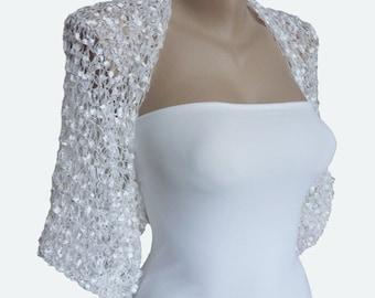 White Bridal Shrug - White Wedding Shrug - Bridal Bolero Shrug - White Bridal Bolero - White Wedding Bolero - Bridal Bolero Jacket