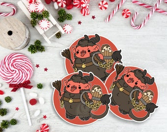 Kawaii Krampus Nugget Christmas Sticker