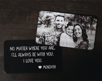 Personalized Wallet Card Black with Free Gift Box, Etched Wallet Insert, Metal Wallet Card,Christmas Gift,Anniversary Gift,Etched Photo
