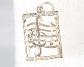 Vintage Silber-Musik Charme musikalischen Personal Notes Charme figürliche Anhänger Fob