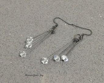 Crystal Steel Earrings – Clear Swarovski Crystals, Gunmetal