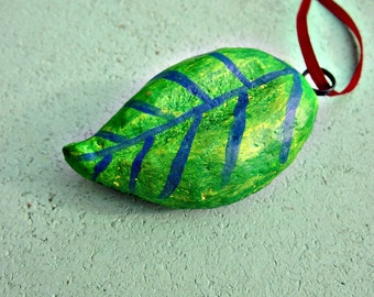 Ornament, Green Handmade Paper Mache Leaf with Red Ribbon