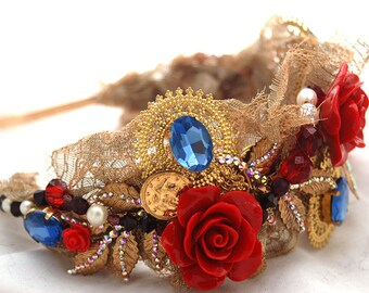 Gold, Sapphire Crystal, Roses, Freshwater Pearls and Filigree Headband