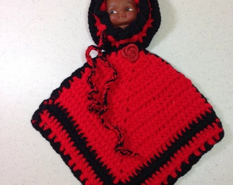 """Red and Black Pot Holder or Hot Pad with SunBonnet Doll Face Wall Hanging 15.25"""" Long Pot Holder is 11.5"""" Previously 15 Dollars ON SALE (D)"""