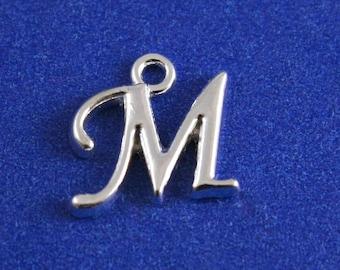1 or 4 pcs- Silver Script Initial M, Silver Plate Alphabet Charm M, Letter M, Monogram M