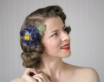 "Navy Flower Hair Clip, Dark Blue Fascinator, Floral Headpiece, Vintage Rose Hair Accessory, 1950s Hair Piece, Camellia - ""Moonlight Bloom"""
