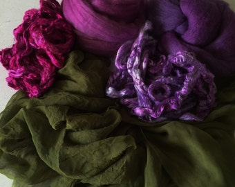 Nuno Felting scarf kit Olive Green, Nuno Scarf Kit, Nuno Supplies