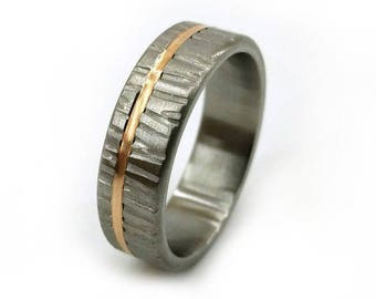 Tree Bark Ring, Textured Ring, Bronze Inlay Ring, Titanium, Rustic Ring, Nature Ring, Personalized Wedding, Twig Ring, Unique Ring Band