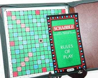 1988 Travel Scrabble Game -- J W Spear, England -- Perforated Board, Racks, Tiles, Bag, Pouch -- Word, Letters