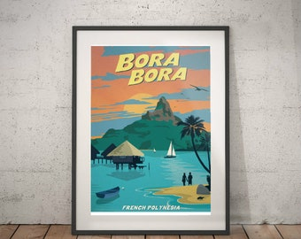 bora bora, bora bora travel poster, wall decor, vintage