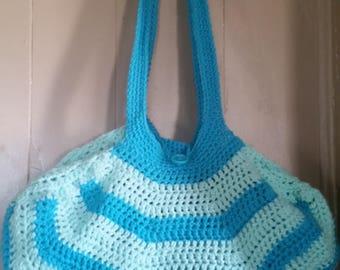 Turquoise and aqua tote bag