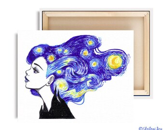 LIMTED EDITION Starry Night Canvas Reproduction Print 4 of 10