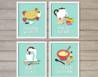 Funny Kitchen Printable Wall Art Prints- Set of 4- Turquoise Blue -8x10- Instant Download Cake Baking Tea Pie Baker Kitchen Gifts Home Decor