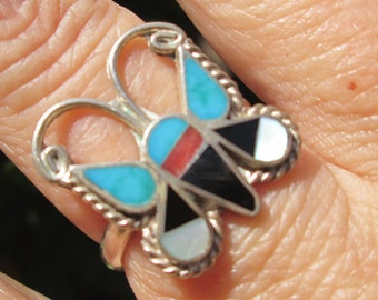 Native American Coral,Turquoise and Sterling Silver Inlay Butterfly Ring Size 7.75