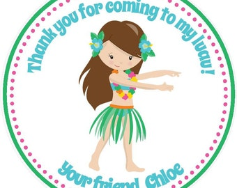 Luau Birthday Party Favor Tags - Girls ( Set of 12 ) / Luau Party Favors / Luau Favors / Luau Birthday Favors / Hawaiian Birthday Favors