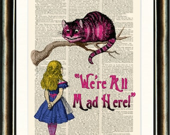 Alice in Wonderland vintage book page print on a page from a late 1800s Dictionary Buy 3 get 1 FREE