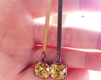 Beautiful Yellow, Swarovski Crystal, and Brass earrings.