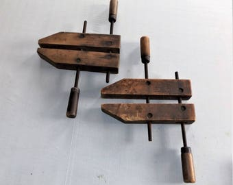 Pair of Vintage Wood Screw Clamps, Jorgensen made by Adjustable Clamp Co.
