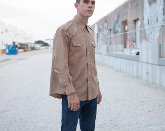 "RARE FIND Oscar De La Renta Shirt/Vintage Oscar/Vintage Button Up/Men's Vintage Oxford/Men's Tan Shirt/Size XL/29""Long/20""Sleeve/52""Chest"
