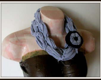 All Wrapped Up Light Gray Infinity Looped T shirt Jersey Scarf