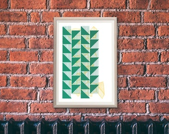 "Limited Edition Abstract Giclee Print, Unique Geometric Wall Art, Green, Urban Graffiti Home Decor, Unique Op Art - ""Tread"""