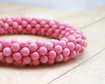 Pink Stone Bracelet,  Bead Crochet Bangle Bracelet, Handmade Rhodonite Jewelry, Women's Beaded Accessories, Beadwork