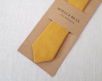 Mustard Necktie, Skinny Mustard Necktie, Boys Mustard Necktie, Men's Mustard NeckTie, Groomsmen Mustard Necktie