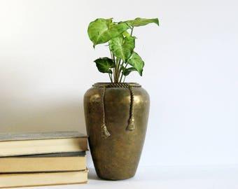 Vintage Brass Flower Vase with Rope and Tassel Design - Hammered Brass Urn Vase - Brass Home Decor - Tall Brass Planter - Hollywood Regency