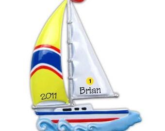 Personalized Christmas Ornament Sailboat, Yacht, Ship, Nautical Theme - Birthday, wedding Gift/ Gift Tag