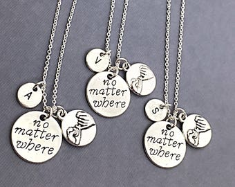 Set of 3, no matter where necklace, best friend necklaces for 3, friendship jewelry, distance friends, 3 necklaces, bff gift,no matter where