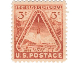 10 Unused Vintage US Postage Stamps - 1948 3c Fort Bliss Centennial - El Paso Texas - Item No. 976