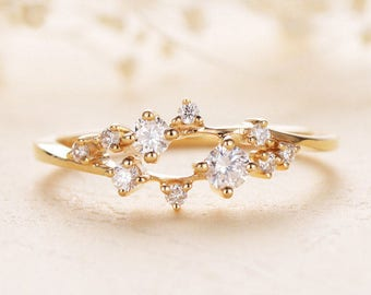 Diamond Cluster Ring Twig Engagement Ring Floral Unique Wedding Band Snowflake Yellow Gold Dainty Flower Mini Tiny Anniversary Promise